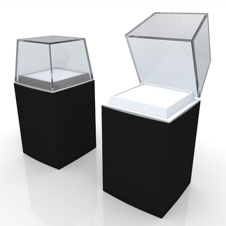 3d black label, witte basis en transparant acryl box verpakking lege sjabloon in geïsoleerde met clipping paths, werk inbegrepen wegen