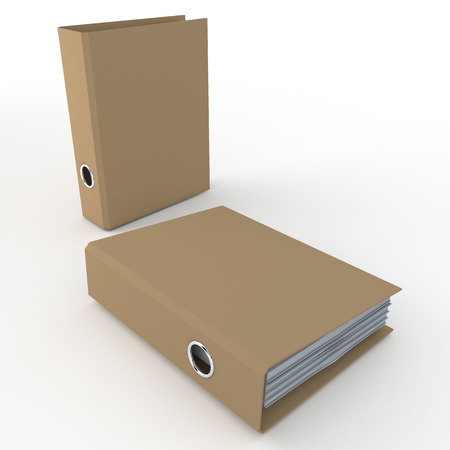 case binder: 3D original brown office binder in isolated background with work paths, clipping paths included Stock Photo