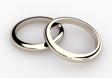 gold ring: 3D couple white gold, platinum wedding rings in isolated background with work paths, clipping paths included