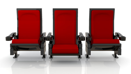 3d red theater seats in isolated background with clipping paths, work paths