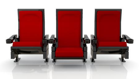 3d rode theater zetels in geïsoleerde achtergrond met clipping paths, werk paden Stockfoto