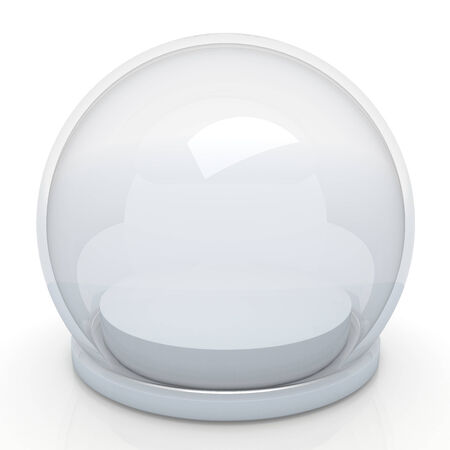 sphere base: 3d semi sphere, snow globe and base in isolated background with work paths Stock Photo