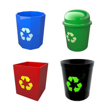 3D render colorful recycle bins in isolated background with work paths photo