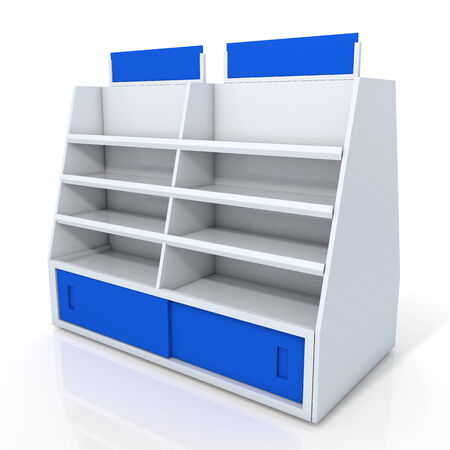 3d clean white and blue store shelves and brand sign new design for products showing in minimart or department store isolated background with work paths, clipping paths included photo