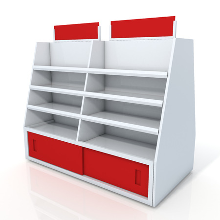 3d clean white and red store shelves and brand sign new design for products showing in minimart or department store isolated background with work paths, clipping paths included photo