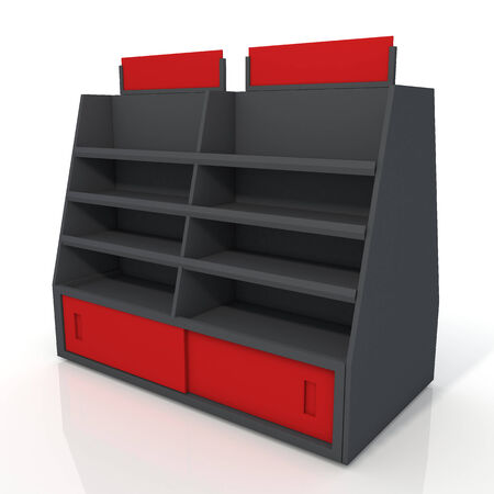 3d black and red store shelves and brand sign new design for products showing in minimart or department store isolated background with work paths, clipping paths included photo