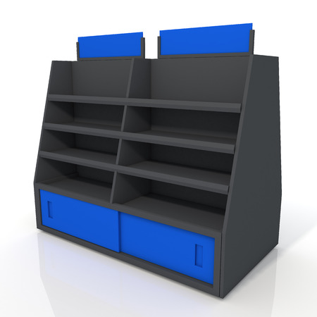 3d black and blue store shelves and brand sign new design for products showing in minimart or department store isolated background with work paths, clipping paths included photo