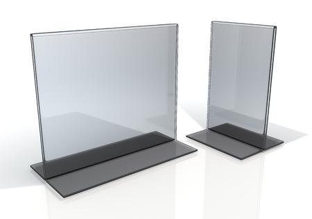 3D render transparant acryl tafelstandaard menu houder vertoning in geïsoleerde achtergrond met werk paden, het knippen inbegrepen wegen Stockfoto
