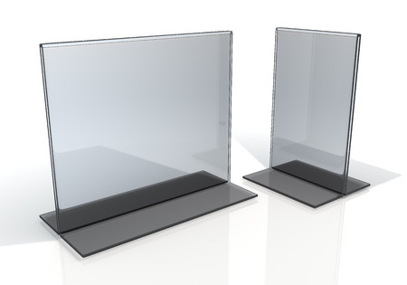 3D render transparent acrylic table stand menu holder display in isolated background with work paths, clipping paths included