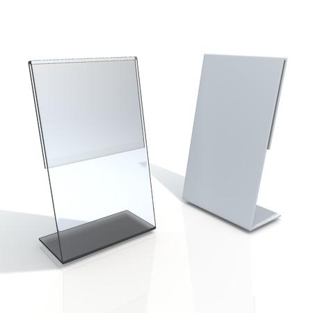 3D geef transparant acryl tafelstandaard display voor menu in geïsoleerde achtergrond met werk paden, het knippen inbegrepen wegen