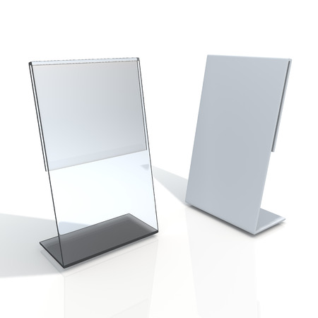 display stand: 3D render transparent acrylic table stand display for menu in isolated background with work paths, clipping paths included Stock Photo