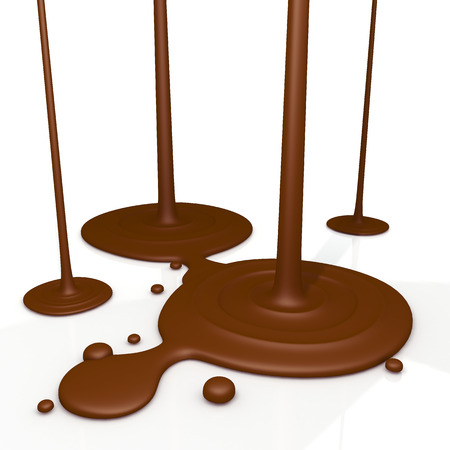 caramel sauce: 3D render chocolate liquid drop on floor in isolated background with work paths, clipping paths included