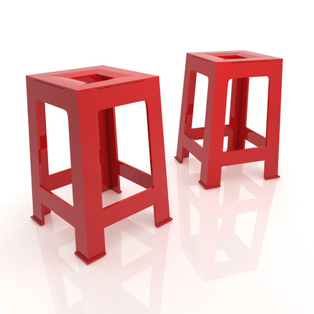lawn furniture: 3D render red plastic chairs in isolated background with work paths, clipping paths included