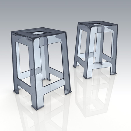 patio chair: 3D render transparent acrylic plastic chairs in isolated background