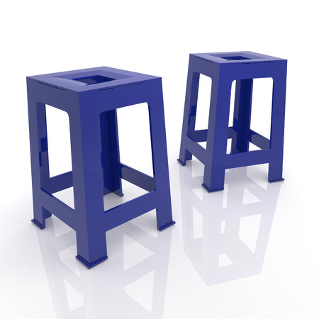 lawn chair: 3D render dark blue plastic chairs in isolated background  Stock Photo