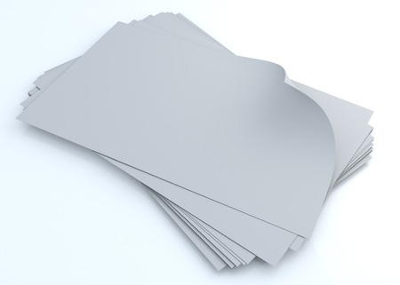3d clean white papers corner curled free composition in isolated background with clipping paths included Stock Photo