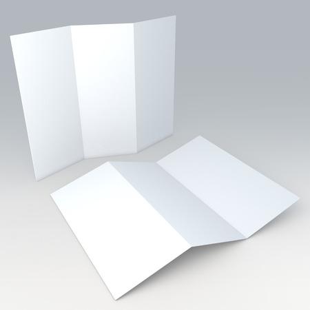3D schone witte lege sjabloon brochure, folder in geïsoleerde achtergrond met werk paden, clipping paths inbegrepen Stockfoto