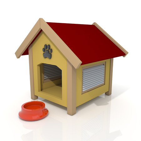 3D render dog house and feeding bowl in isolated background with work paths, clipping paths included Imagens