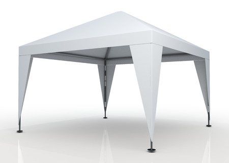3D clean white canopy, tent for outdoor activity and canvas, pipe structure in isolated background with work paths, clipping paths included