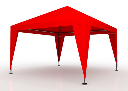 3D fresh red canopy, tent for outdoor activity and canvas, pipe structure in isolated background with work paths, clipping paths included Stock Photo