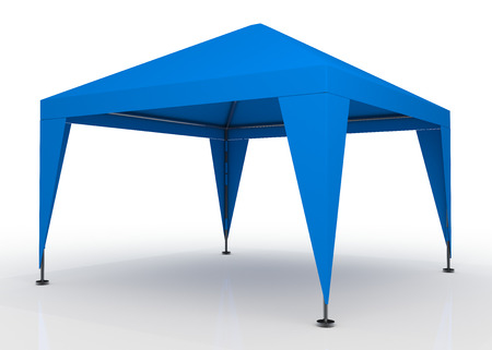 canopy: 3D light blue canopy, tent for outdoor activity and canvas, pipe structure in isolated background with work paths, clipping paths included