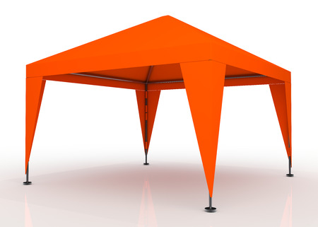 overhang: 3D orange canopy, tent for outdoor activity and canvas, pipe structure in isolated background with work paths, clipping paths included