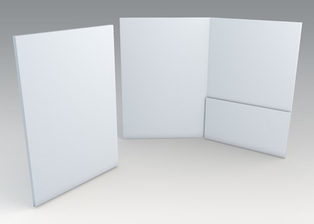 3D blank clean white folder for document papers sheets A4 container in isolated background with work paths, clipping paths included