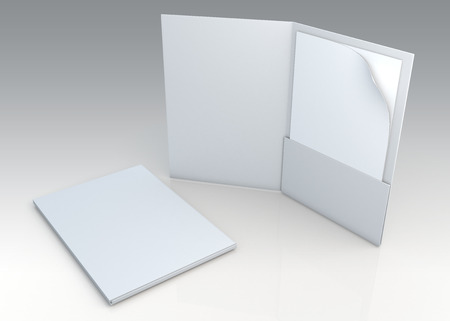 files: 3D blank clean white folder for document papers sheets A4 container in isolated background with work paths, clipping paths included