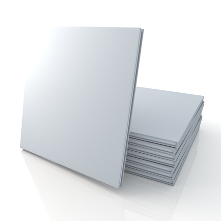 catalogs: 3D blank template clean white cover goods catalogs square type is in front of pile and reflection in isolated background with work paths, clipping paths included