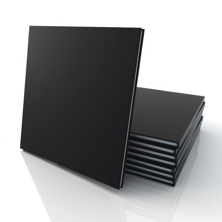 3D lege sjabloon matte zwarte cover goederen catalogi vierkant type is in de voorkant van de stapel en reflectie in geïsoleerde achtergrond met werk paden, clipping paths inbegrepen