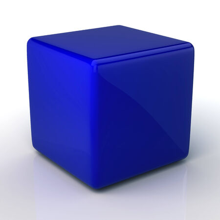 3D blank dark blue cube and reflection in isolated background with work paths, clipping paths included photo