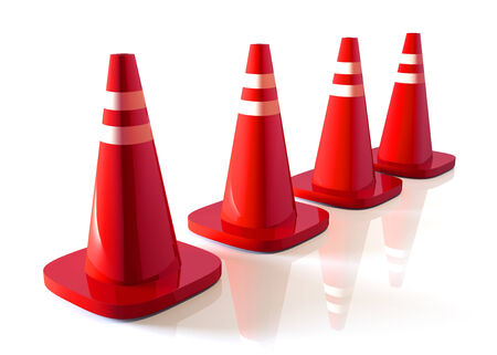 3D fresh red traffic cones and reflection in isolated background with work paths, clipping paths included