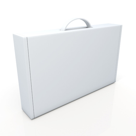 3d schoon witte doos karton, aktetas verpakkingen voor zware producten, handelen in geïsoleerde achtergrond met clipping paths, inclusief werk paden