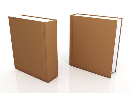 3d original brown cover books blank for artwork design in isolated background and reflection with clipping paths, work paths included photo