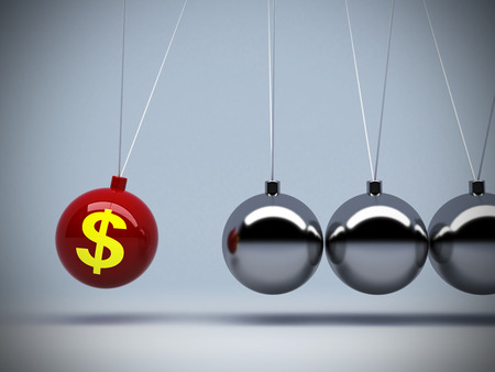 3d red pendulum dollar sign of about money or investment impact art abstract background concepts