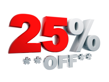 3d text percentage discount 25% off in isolated background with clipping paths include photo