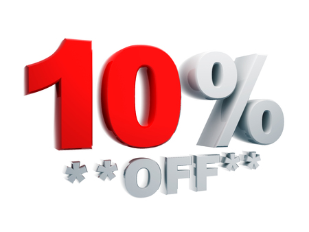 3d text percentage discount 10% off in isolated background with clipping paths include photo
