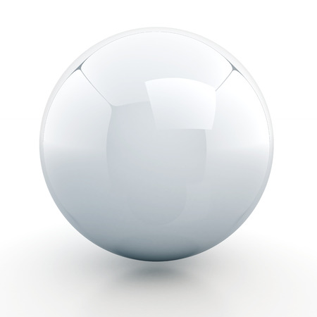 3d clean white glossiness sphere, ball with floor reflection and shadow blank template in isolated with clipping included photo
