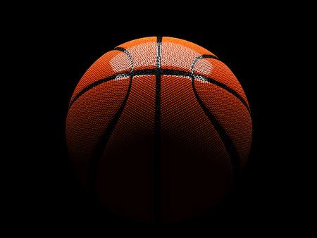 3d basketbal in tussen licht en schaduw hebben reflecties, geïsoleerde clipping paths omvatten Stockfoto