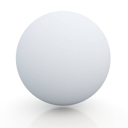 3d matte clean white sphere, ball with floor reflection and shadow blank template in isolated with clipping included