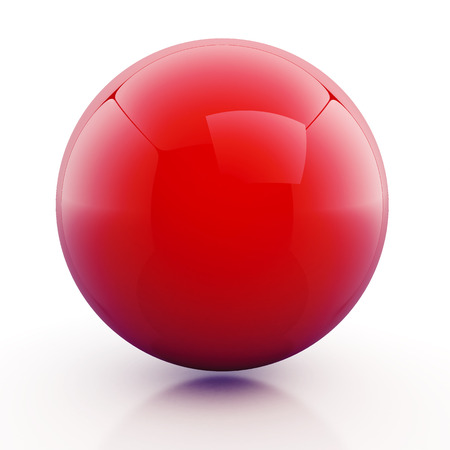 3d glossiness red sphere, ball with floor reflection and shadow blank template in isolated with clipping included photo
