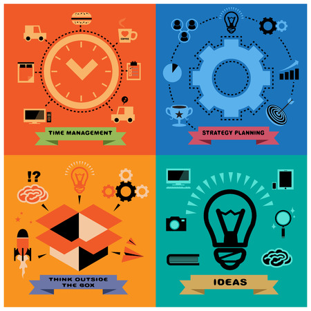 Vector 4 in 1 Concepts for Business Man and Creative Icons set in Colorful background as Flat Design Minimalist Vector