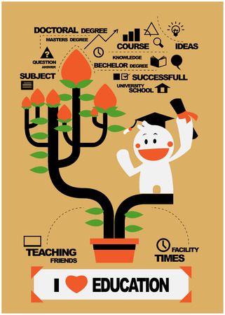 cute character and education tree, education concepts Vector
