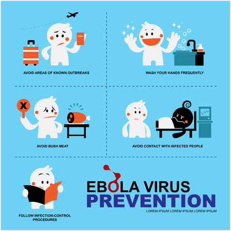 infection prevention: presenter cute character with EBOLA virus prevention