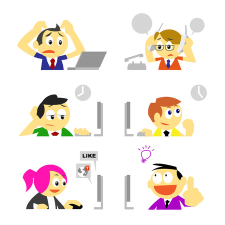 vector business people and various behavior in office emotion concepts