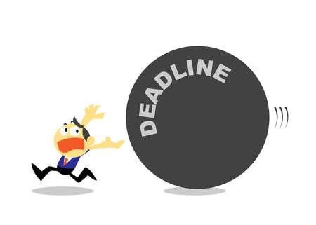 run away: Cartoon Businessman Run Away from Deadline.
