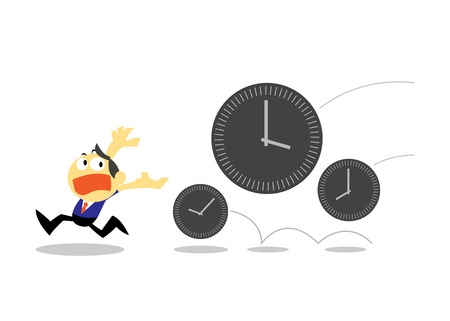 time run away: Vector Businessman Run Away from Times, Time Management concepts Illustration
