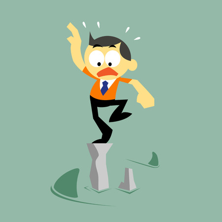 El hombre de negocios vector de dibujos animados y el estado de riesgo, gestión de riesgos