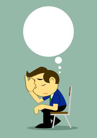 depressive: Vector Cartoon Businessman Depressed Alone on bench