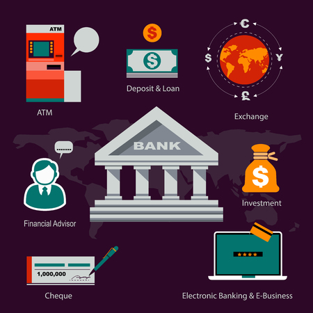 cash dispenser: Vector Infographics Flat Icons Design Banking and Service. Business Concept.